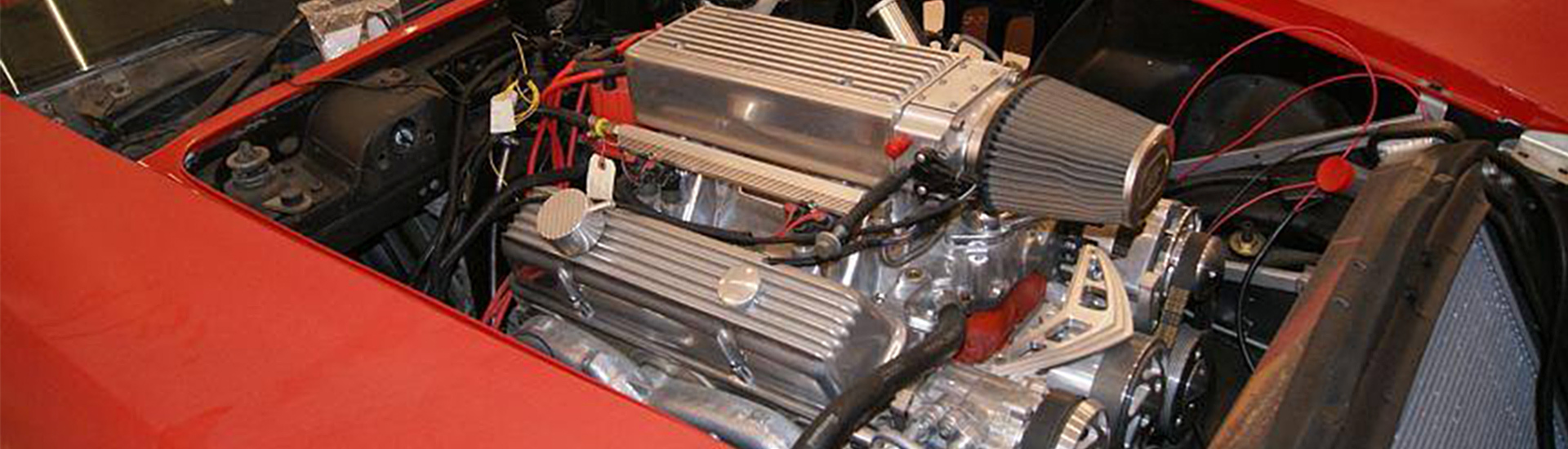 Engine with Air Filter in Red Corvette